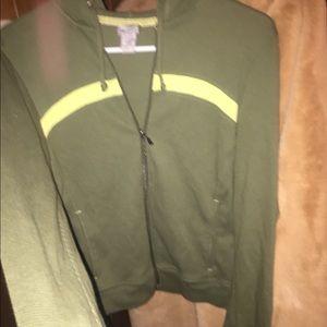 2 tone Emerald Green Champion Zip Sweater